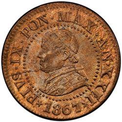 PAPAL STATES: Pius IX, 1846-1878, AE centesimo, 1867-R. PCGS MS65