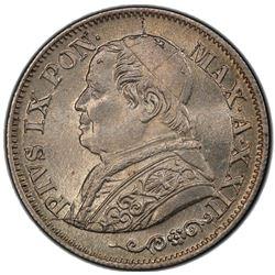 PAPAL STATES: Pius IX, 1846-1878, AR 10 soldi, 1868 year XXII. PCGS MS65
