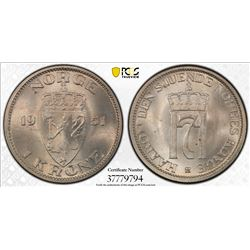 NORWAY: Haakon VII, 1905-1957, 1 krone, 1951. PCGS MS65