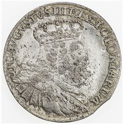 POLAND: August III, 1733-1763, BI 6 groszy, 1755. EF