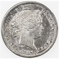 SPAIN: Isabel II, 1833-1868, AR real, 1859/7. UNC