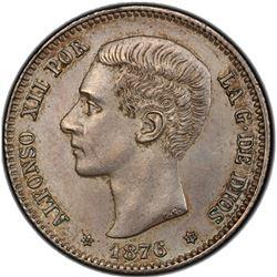 SPAIN: Alfonso XII, 1874-1885, AR peseta, 1876