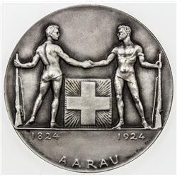 AARGAU: AR medal (53.10g), 1924. UNC