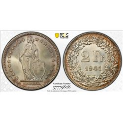 SWITZERLAND: Confederation, AR 2 francs, 1941-B. PCGS MS65