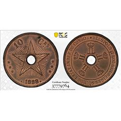 BELGIAN CONGO: Leopold II, 1885-1909, AE 10 centimes, 1888. PCGS MS63