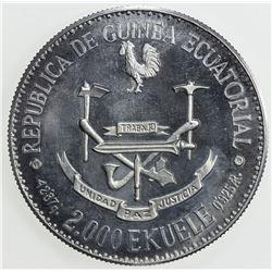EQUATORIAL GUINEA: essai 2000 ekuele (8.82g), 1978. PF