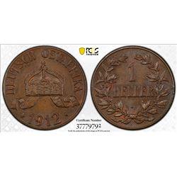 GERMAN EAST AFRICA: Wilhelm II, 1891-1918, AE heller, 1912-J. PCGS MS64
