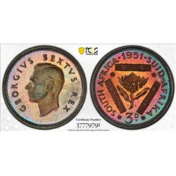 SOUTH AFRICA: George VI, 1936-1952, AR 3 pence, 1951. PCGS PF67