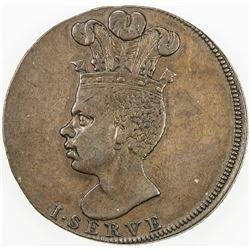 BARBADOS: George III, 1760-1820, AR penny token, 1788. VF