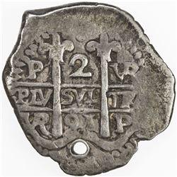 BOLIVIA: Carlos II, 1665-1700, AR 2 reales cob (6.7g), [16]91-P. F