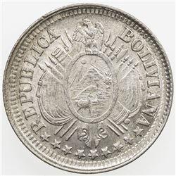 BOLIVIA: AR 10 centavos, 1891. UNC