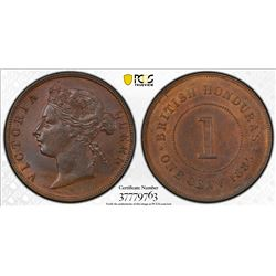 BRITISH HONDURAS: Victoria, 1837-1901, AE cent, 1885. PCGS MS63