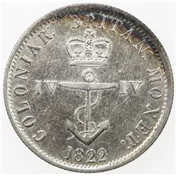 BRITISH WEST INDIES: George IV, 1820-1830, AR 1/4 dollar, 1822/2