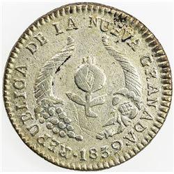 COLOMBIA: Nueva Granada, 1837-1850, AR 1/2 real, Popayan, 1839. EF