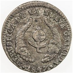 COLOMBIA: AR 1/2 real, 1847. VF