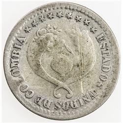 COLOMBIA: AR 1/2 decimo, 1867. VG-F
