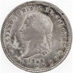 COLOMBIA: AR 5 decimos, 1869. VF