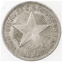 CUBA: AR peso, 1933. VF-EF