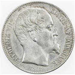 DANISH WEST INDIES: Fredrik VII, 1848-1863, AR 20 cents, 1862. EF-AU