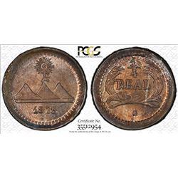 GUATEMALA: Republic, AR 1/4 real, 1878. PCGS MS66