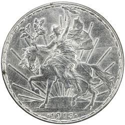 """MEXICO: Republic, AR peso, 1913/2, KM-453, """"Caballito"""" type, AU."""