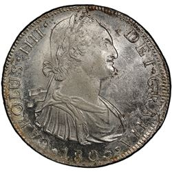 PERU: Carlos IV, 1788-1808, AR 8 reales, 1805-LIMAE. PCGS UNC