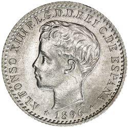 PUERTO RICO: Alfonso XIII, 1886-1898, AR 10 centavos, 1896
