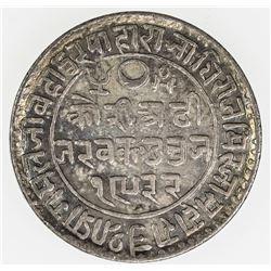 KUTCH: Pragmalji II, 1860-1875, AR 2 1/2 kori, Bhuj, 1875//VS1932. EF-AU