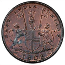 MADRAS PRESIDENCY: AE 10 cash, 1808. PCGS UNC