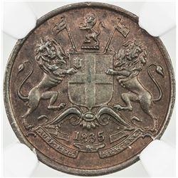 BRITISH INDIA: AE 1/12 anna, 1835(m). PCGS AU58