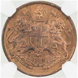 BRITISH INDIA: AE 1/12 anna, 1835(m). PCGS UNC