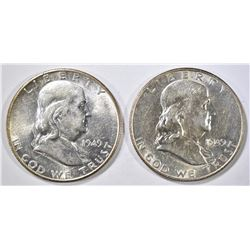 1949-D,S FRANKLIN HALF DOLLARS AU/BU