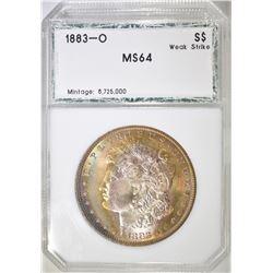1883-O MORGAN DOLLAR PCI CH/GEM BU RAINBOW COLOR