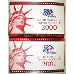 2000 & 2001 U.S. SILVER PROOF SETS