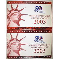 2002 & 03 U.S. SILVER PROOF SETS IN ORIG PACKAGING