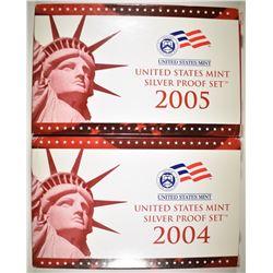 2004 & 05 U.S. SILVER PROOF SETS IN ORIG PACKAGING