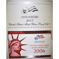 2006 & 07 U.S. SILVER PROOF SETS IN ORIG PACAKING