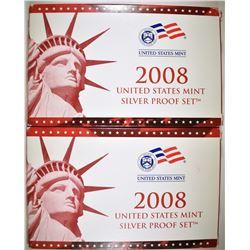 2-2008 U.S. SILVER PROOF SETS IN ORIG PACKAGING