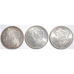 1881-S, O, 1882-S MORGAN DOLLARS  CH BU