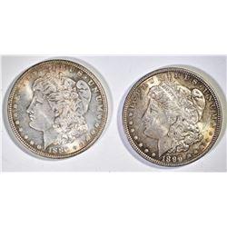 2 CH BU TONED MORGAN DOLLARS  1886, 96