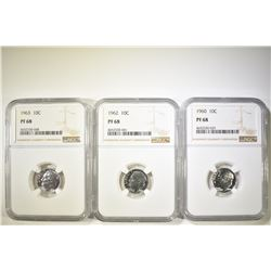 LOT OF 3 NGC ROOSEVELT DIMES: