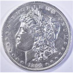 1891-CC  MORGAN DOLLAR  BU CLEANED