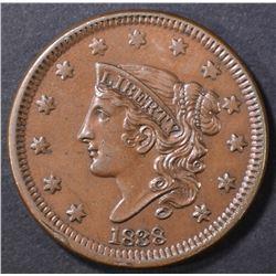1838 LARGE CENT  CH BU BN