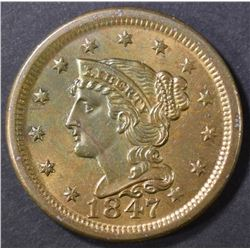 1847 LARGE CENT   CH/GEM BU