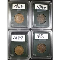 LOT OF 4 CIRCULATED  LARGE CENTS: