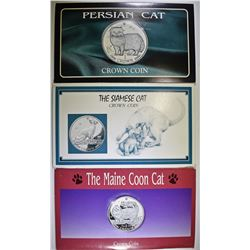 3 ISLE OF MAN CAT COINS:
