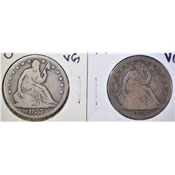 1856 & 57-O SEATED HALF DOLLARS, VG
