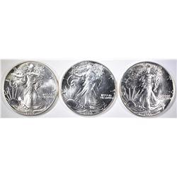 1987, 88 & 90 BU AMERICAN SILVER EAGLES
