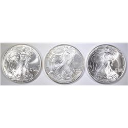 1995, 98 & 99 BU AMERICAN SILVER EAGLES