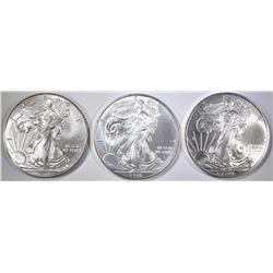 2009, 10 & 12 BU AMERICAN SILVER EAGLES